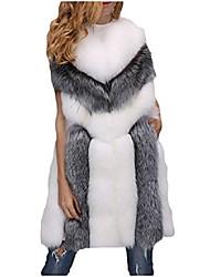 cheap -women's faux fur long coat shaggy vest sleeveless fuzzy chunky overcoat for winter new year black