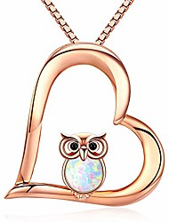 cheap -heart necklace 18k rose gold plated october birthstone owl jewelry for women