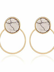 cheap -marble stone stud round resin alloy geometry earrings vintage white drop dangle earrings