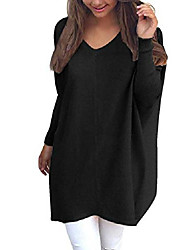 cheap -women long sleeve v neck black pullovers loose sweaters long pullover jumper tops xl