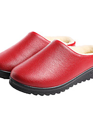 cheap -Women's Slippers & Flip-Flops Fuzzy Slippers Indoor Shoes Flat Heel Round Toe Minimalism Home PU Solid Colored Winter Dark Brown Black Red