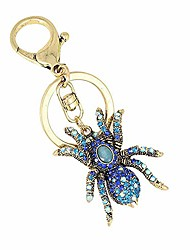 cheap -new crystal spider keychains personality key ring male car key chains female bag accessories keychain key chain (blue)