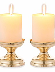 cheap -set of 2 gold candlestick metal pillar candle holders, wedding centerpieces candlestick holders for 3 inches candles stand decoration ideal for weddings, special events, parties