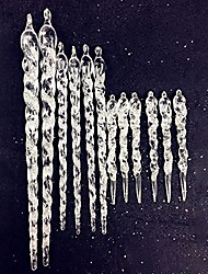 """cheap -12 pcs 9"""" glitter acrylic icicle christmas wedding birthday party hanging ornaments"""