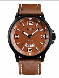 cheap -50 meters waterproof quartz fashionable men watch with date function with genuine leather band