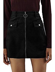 cheap -plus size high waisted zipper mini skirt for womens metal ring a-line skirt,black xl