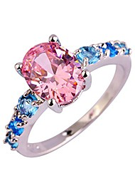 cheap -925 silver plated oval created pink topaz promise eternity women's band rings color pink size 7
