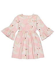 cheap -girls' little organic simple dress swan song, pink, 8y