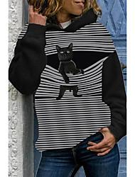 cheap -Women's Pullover Hoodie Sweatshirt Print Animal Daily Casual Hoodies Sweatshirts  Black