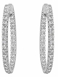 "cheap -14k white gold 1 carat cttw round brilliant diamond hoop earrings (h-i,si1-si2) 1"" inch"