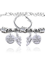 cheap -2pcs bbf best friends no matter where compass split broken heart double bracelets set friendship gift (charm bracelet)