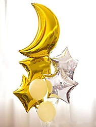 cheap -14 pcs foil moon balloons set,star and heart shape balloon perfect for birthday party baby shower decoration (14 pcs) (gold-white-silver set)