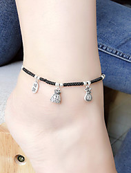cheap -Anklet Simple Fashion Vintage Women's Body Jewelry For Gift Holiday Braided Composite Alloy Friends Weave Silver 1 PC