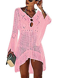 cheap -women sexy knitted crochet beach bikini cover up flare sleeve drawstring hollow out tunic dress pink
