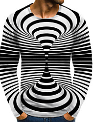 cheap -Men's 3D Graphic optical illusion Plus Size T-shirt Print Long Sleeve Daily Tops Round Neck Black / White / Sports