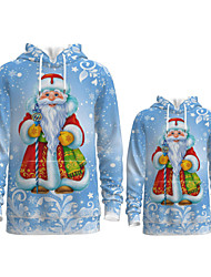 cheap -Family Look Active Santa Claus Graphic optical illusion Print Long Sleeve Regular Hoodie & Sweatshirt Light Blue