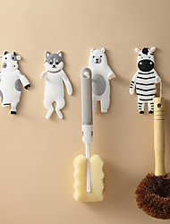 cheap -3 PCS Cartoon Animal Decorative Hook Flexible PVC Soft Rubber Non-mark Sticky Hook Home Office And Lovely