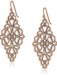 cheap -rose gold-tone filigree diamond drop earrings