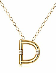 cheap -women letter necklace gold - 14k gold filled cubic zirconia big initial pendant necklace, letter d monogram necklace gift for women girls