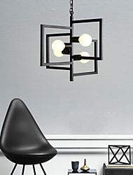cheap -4-Light Geometrical Chandelier Ambient Light Painted Finishes Black Metal 110-120V 220-240V