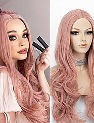 cheap -rose pink synthetic wig long wavy pink wig with middle parting glueless pastel pink wigs for cosplay party 22 inches