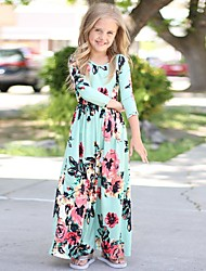 cheap -Kid's Little Girls' Dress Floral Light Blue Pink White Dresses