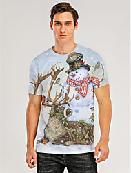 cheap -Men's 3D Graphic Animal T-shirt Print Short Sleeve Christmas Tops Round Neck Khaki