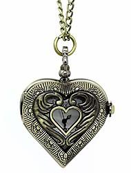 cheap -antique bronze color hollow heart shape pocket watch