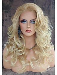 cheap -(non-Lace) Synthetic Wig Body Wave Body Wig Blonde Long Blonde Synthetic Hair Women's Heat Resistant Natural Hairline Side Part Blonde