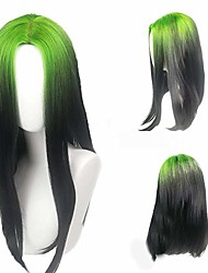 cheap -eilish wig green roots and black cosplay wig billie cosplay costume accessories makeup (billie wig green roots and black)
