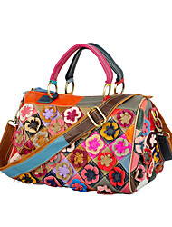 cheap -Women's Bags Leather Cowhide Top Handle Bag Zipper Flower Patchwork Flower / Floral Fashion Daily Holiday Retro Handbags Rainbow
