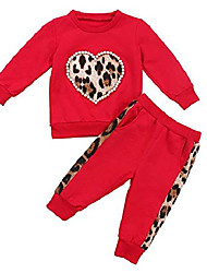 cheap -kids baby girl winter clothes leopard love heart long sleeve shirts top and pants fall tracksuit outfit (red, 2t)
