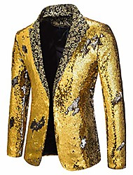 cheap -men's shiny sequins suit jacket blazer one button luxury tuxedo for party,wedding,banquet,prom gold silver