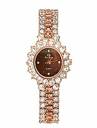 cheap -women luxury stainless steel quartz analog watches artificial diamond shining bling starry sky round dial dress wrist watches (rose gold+brown)