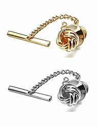 cheap -2pcs mens tie tack clutch with chain tie clip wedding business party accessories tie pin (2pcs spiral)