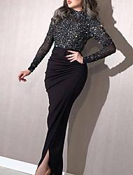cheap -Women's Sheath Dress Midi Dress - Long Sleeve Solid Color Fall Elegant Formal Party Slim 2020 White Black Blushing Pink S M L XL XXL