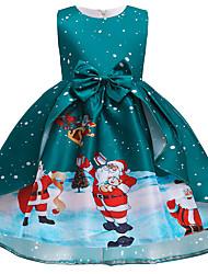 cheap -Kids Little Girls' Dress Christmas Bow Green Midi Sleeveless Cute Dresses Regular Fit