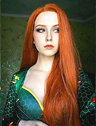 cheap -auburn long straight wigs for women heat resistant costume wig free part straight hair wig orange non-lace synthetic wigs daily dress party cosplay wig 26 inches