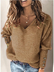 cheap -Women's Basic Knitted Solid Color Plain Pullover Long Sleeve Loose Sweater Cardigans V Neck Fall White Blue Red