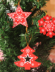 cheap -Christmas Toys Christmas Decorations Christmas Tree Ornaments Star Snowflake Christmas Tree Party Favor Wooden 6 pcs Adults Kids 8*8cm Christmas Party Favors Supplies