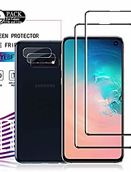 cheap -galaxy s10e hd clear tempered glass screen protector + camera lens protectors by ye, [2+2 pack] [anti-scratch] [9h hardness] full coverage (samsung galaxy s10e)