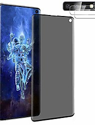 cheap -[1+2] tempered glass for samsung galaxy s10 privacy screen protector + camera lens protector [anti spy] [touch sensitive] [3d edge coverage] [9h hardness & anti scratch] [no bubble] (6.1 inch)