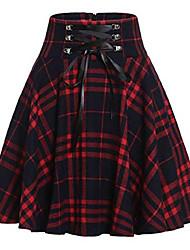 cheap -women's high waist drawstring plaid ruffle versatile pleated a line short skirt (medium, red)