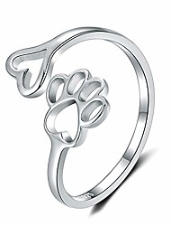 cheap -women rings sterling silver puppy dog and cat paw print design adjustable ring jewelry for woman and girls