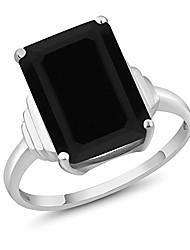 cheap -925 sterling silver black onyx women's ring (6.60 cttw emerald cut 14x10mm) (size 9)