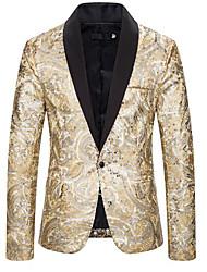 cheap -men's 2 pieces suit set golden peak lapel double breasted elegant tux suit jacket pants party dinner (golden, xx-large)