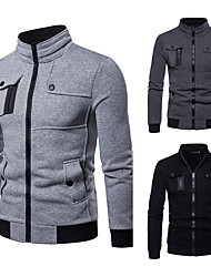 cheap -Men's Golf Jacket Long Sleeve Windproof Breathable Warm Athleisure Sports Outdoor Autumn / Fall Spring Winter Solid Color Dark Grey Black Light Grey / Micro-elastic