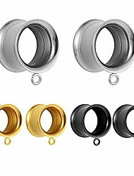 cheap -6 pcs stainless steel ear tunnels and plugs dangle ear gauges fashion ear piercings 3 pairs with one pair per color 0g for ears (8mm)