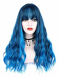 cheap -blue wig with bangs long wavy wigs natural looking curly wigs heat resistant wigs for women daily party use 22""