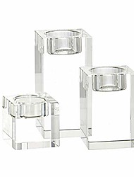 cheap -crystal candle holders glass candlestick holders home decor candle stand for dining table party/wedding/christmas decorative votive candle sticks (clear 3pack, 3 sizes)